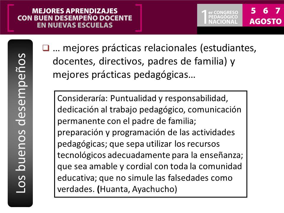 … mejores prácticas relacionales (estudiantes, docentes, directivos, padres de familia) y mejores prácticas pedagógicas… Los buenos desempeños Conside