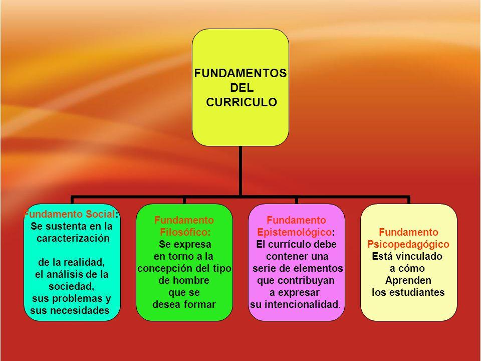 FUNDAMENTOS DEL CURRICULO Fundamento Social: Se sustenta en la caracterización de la realidad, el análisis de la sociedad, sus problemas y sus necesid