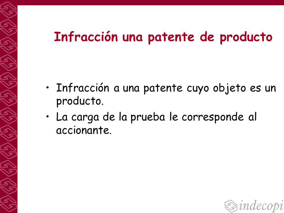 Infracción una patente de producto Infracción a una patente cuyo objeto es un producto. La carga de la prueba le corresponde al accionante.