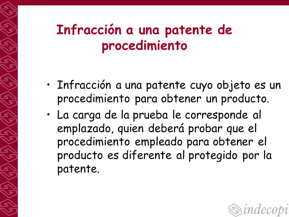 Infracción a una patente de procedimiento Infracción a una patente cuyo objeto es un procedimiento para obtener un producto. La carga de la prueba le