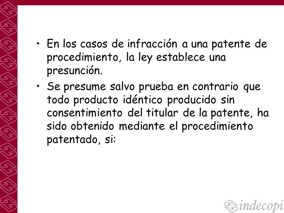En los casos de infracción a una patente de procedimiento, la ley establece una presunción. Se presume salvo prueba en contrario que todo producto idé