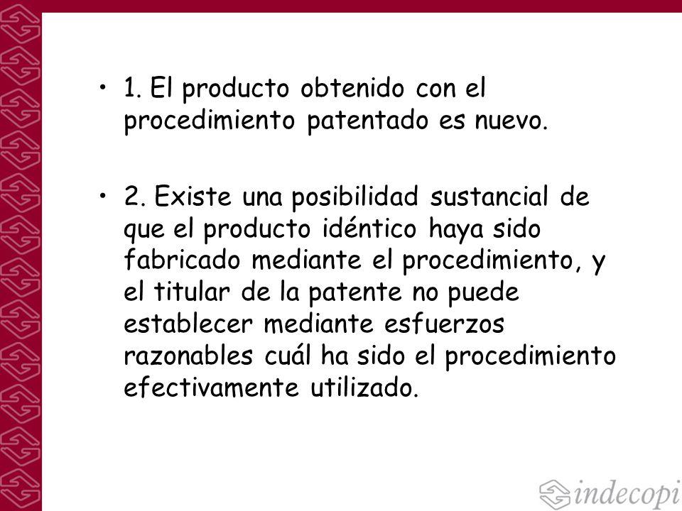 1. El producto obtenido con el procedimiento patentado es nuevo. 2. Existe una posibilidad sustancial de que el producto idéntico haya sido fabricado