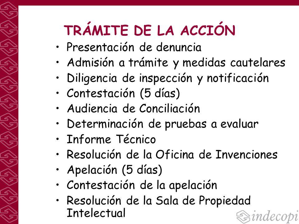 TRÁMITE DE LA ACCIÓN Presentación de denuncia Admisión a trámite y medidas cautelares Diligencia de inspección y notificación Contestación (5 días) Au