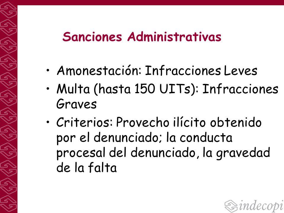 Sanciones Administrativas Amonestación: Infracciones Leves Multa (hasta 150 UITs): Infracciones Graves Criterios: Provecho ilícito obtenido por el den