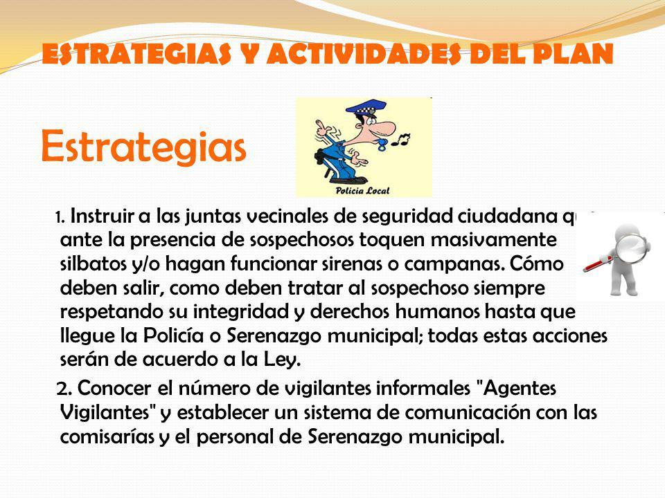 ESTRATEGIAS Y ACTIVIDADES DEL PLAN Estrategias 1. Instruir a las juntas vecinales de seguridad ciudadana que ante la presencia de sospechosos toquen m