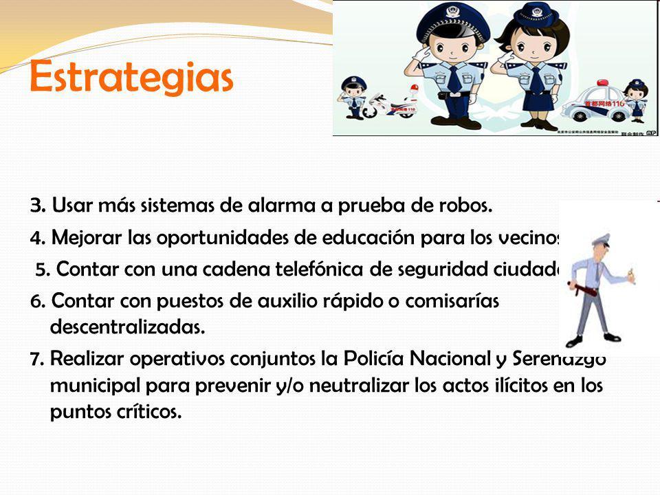 Estrategias 3. Usar más sistemas de alarma a prueba de robos. 4. Mejorar las oportunidades de educación para los vecinos. 5. Contar con una cadena tel
