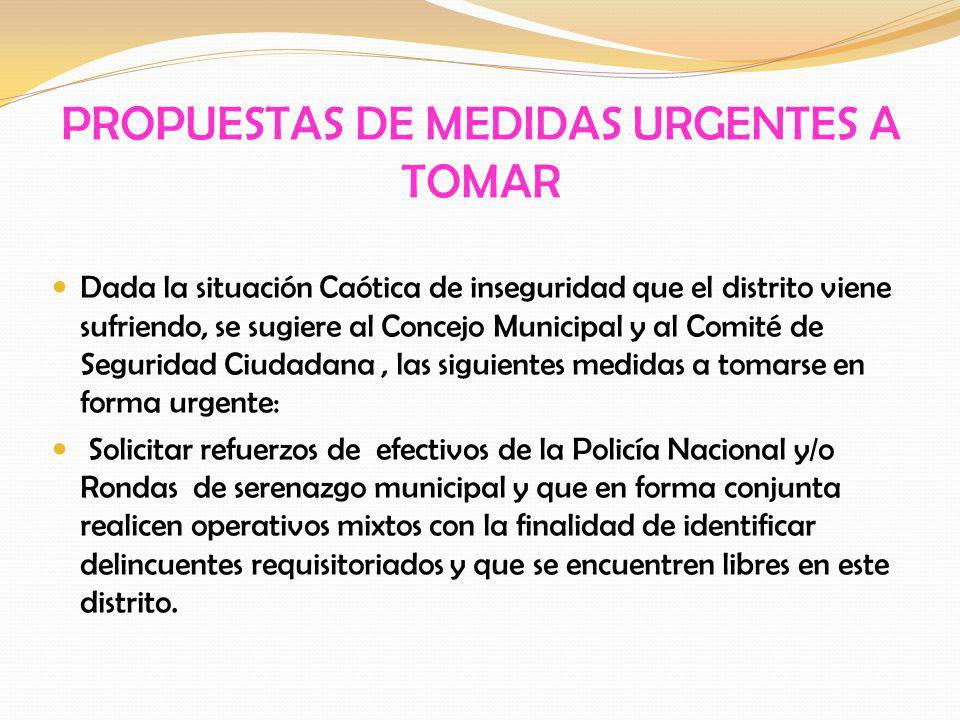 PROPUESTAS DE MEDIDAS URGENTES A TOMAR Dada la situación Caótica de inseguridad que el distrito viene sufriendo, se sugiere al Concejo Municipal y al