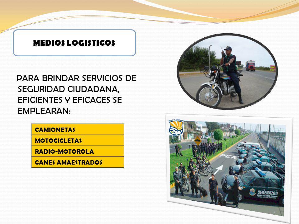 PARA BRINDAR SERVICIOS DE SEGURIDAD CIUDADANA, EFICIENTES Y EFICACES SE EMPLEARAN: MEDIOS LOGISTICOS CAMIONETAS MOTOCICLETAS RADIO-MOTOROLA CANES AMAE