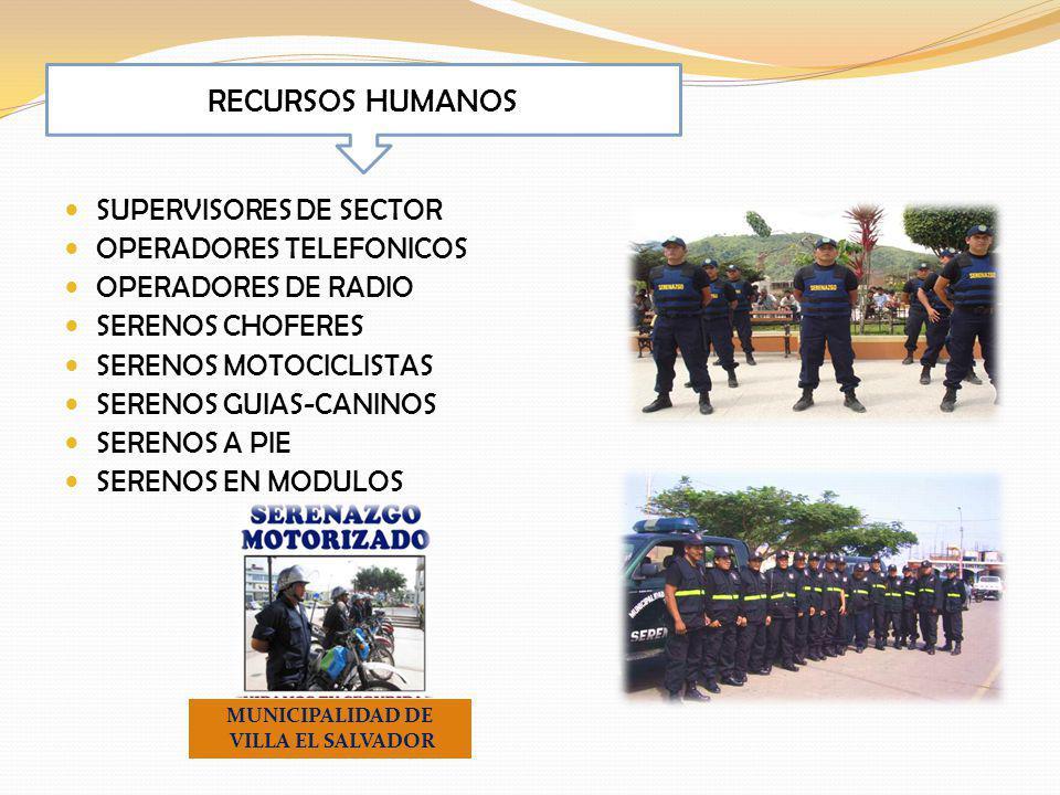 SUPERVISORES DE SECTOR OPERADORES TELEFONICOS OPERADORES DE RADIO SERENOS CHOFERES SERENOS MOTOCICLISTAS SERENOS GUIAS-CANINOS SERENOS A PIE SERENOS EN MODULOS RECURSOS HUMANOS MUNICIPALIDAD DE VILLA EL SALVADOR
