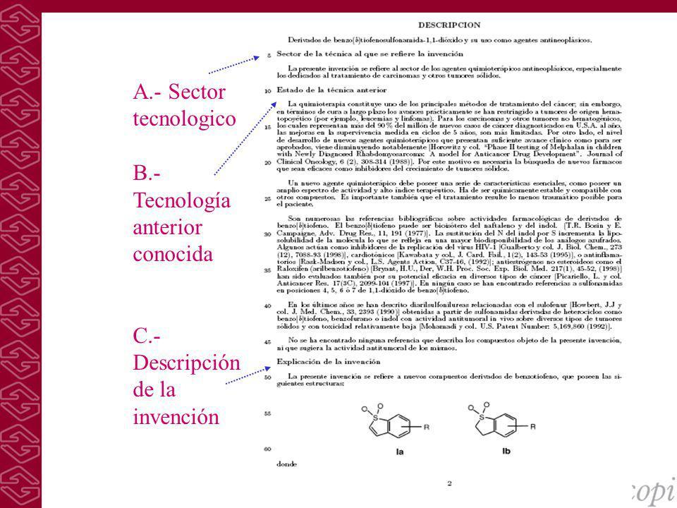 A.- Sector tecnologico B.- Tecnología anterior conocida C.- Descripción de la invención