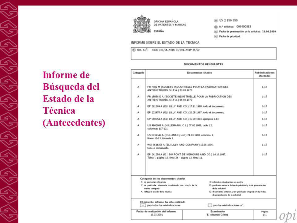 Informe de Búsqueda del Estado de la Técnica (Antecedentes)