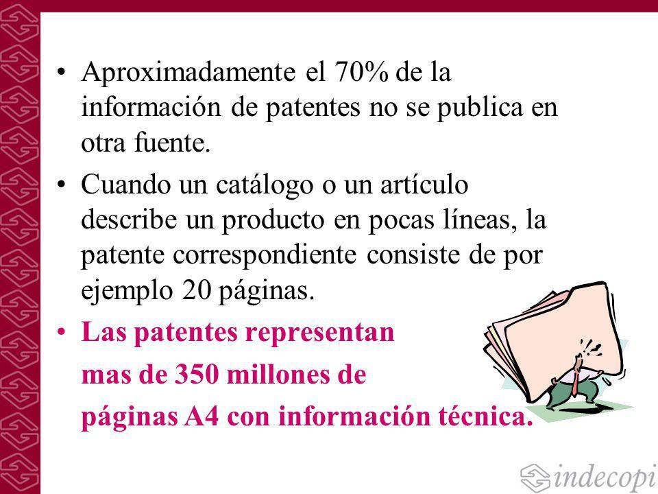 Aproximadamente el 70% de la información de patentes no se publica en otra fuente. Cuando un catálogo o un artículo describe un producto en pocas líne