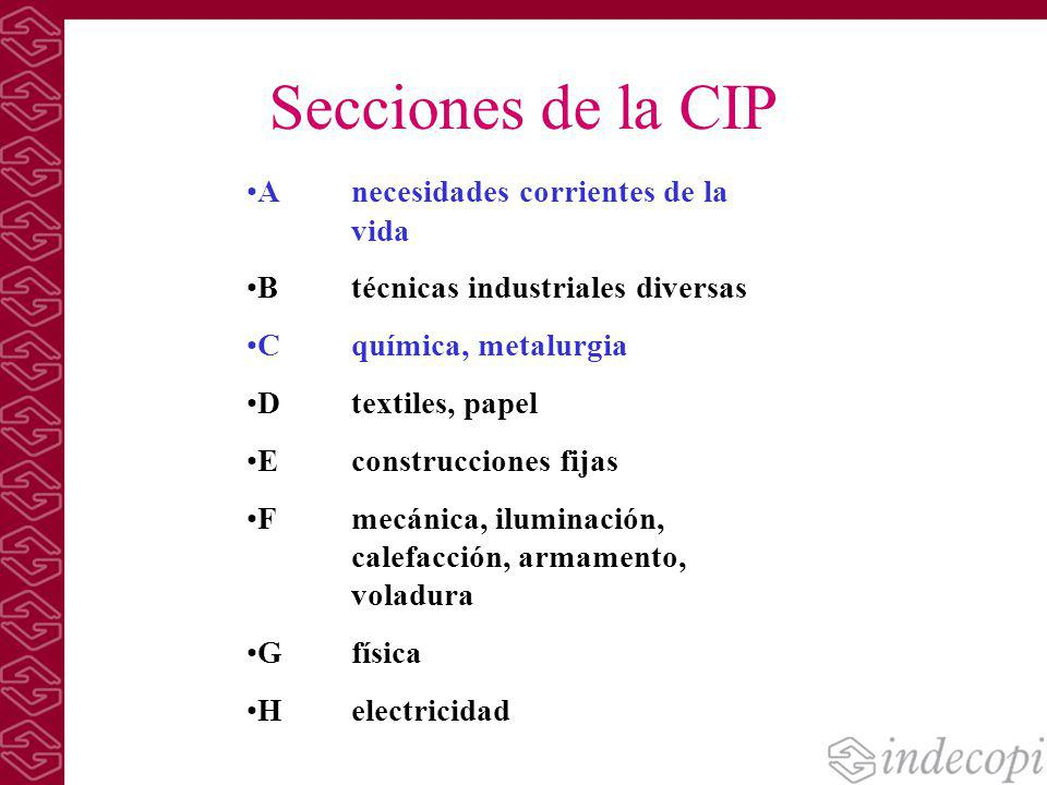 Secciones de la CIP A necesidades corrientes de la vida B técnicas industriales diversas C química, metalurgia D textiles, papel E construcciones fija