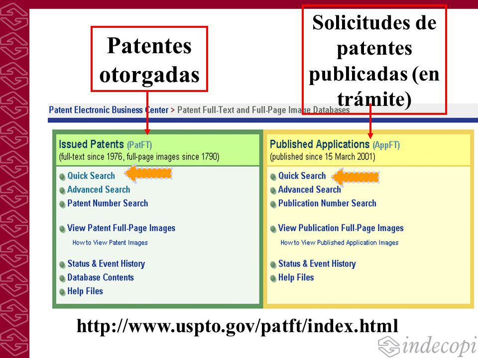 Patentes otorgadas Solicitudes de patentes publicadas (en trámite) http://www.uspto.gov/patft/index.html
