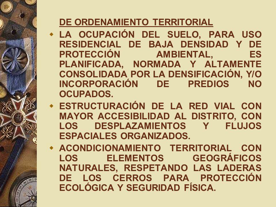 DE ORDENAMIENTO TERRITORIAL LA OCUPACIÓN DEL SUELO, PARA USO RESIDENCIAL DE BAJA DENSIDAD Y DE PROTECCIÓN AMBIENTAL, ES PLANIFICADA, NORMADA Y ALTAMEN