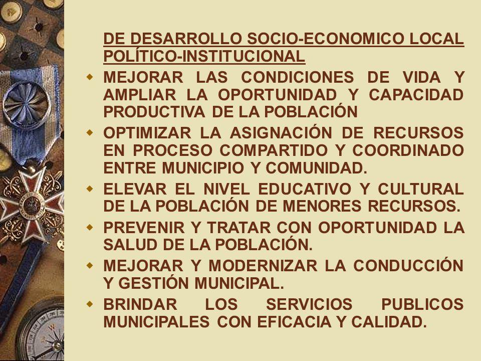 DE DESARROLLO SOCIO-ECONOMICO LOCAL POLÍTICO-INSTITUCIONAL MEJORAR LAS CONDICIONES DE VIDA Y AMPLIAR LA OPORTUNIDAD Y CAPACIDAD PRODUCTIVA DE LA POBLA