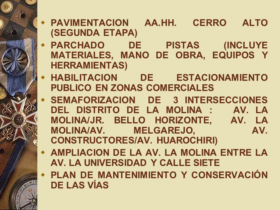 PAVIMENTACION AA.HH. CERRO ALTO (SEGUNDA ETAPA) PARCHADO DE PISTAS (INCLUYE MATERIALES, MANO DE OBRA, EQUIPOS Y HERRAMIENTAS) HABILITACION DE ESTACION