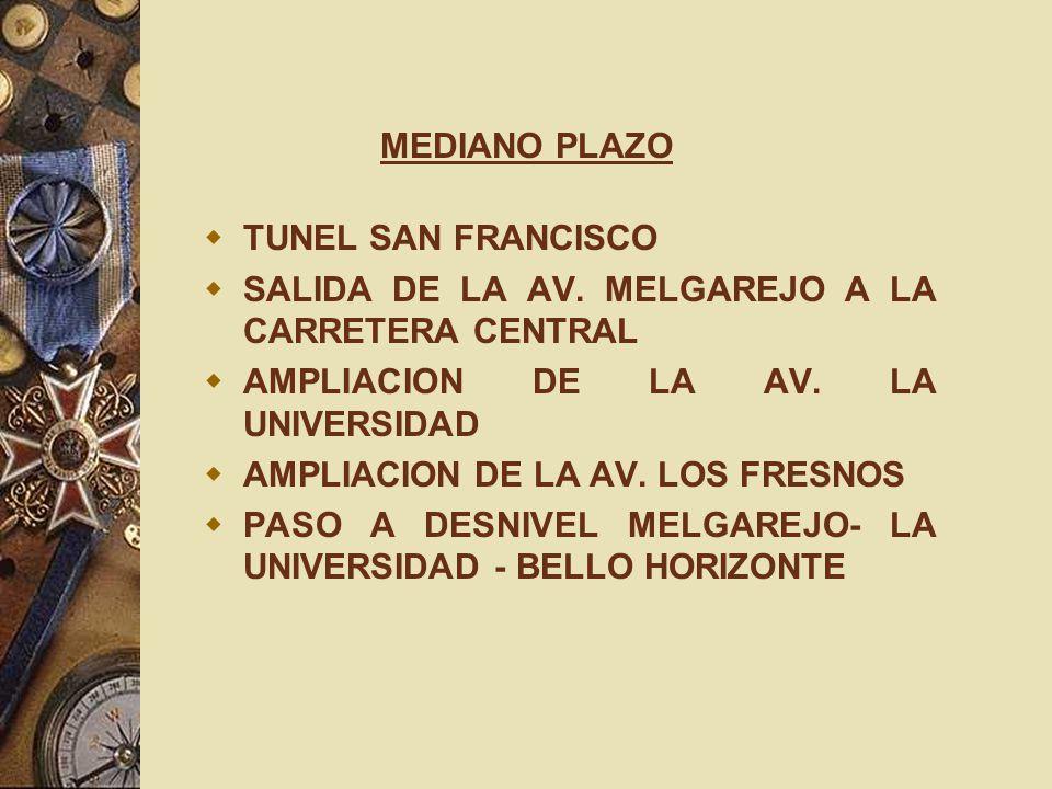 MEDIANO PLAZO TUNEL SAN FRANCISCO SALIDA DE LA AV. MELGAREJO A LA CARRETERA CENTRAL AMPLIACION DE LA AV. LA UNIVERSIDAD AMPLIACION DE LA AV. LOS FRESN