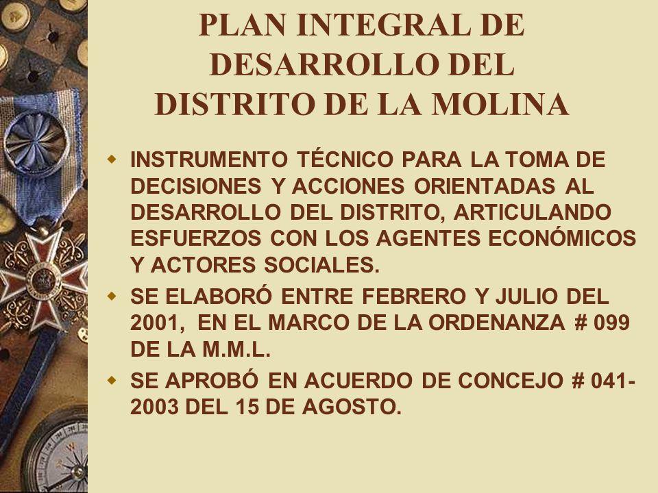 PLAN INTEGRAL DE DESARROLLO DEL DISTRITO DE LA MOLINA INSTRUMENTO TÉCNICO PARA LA TOMA DE DECISIONES Y ACCIONES ORIENTADAS AL DESARROLLO DEL DISTRITO,