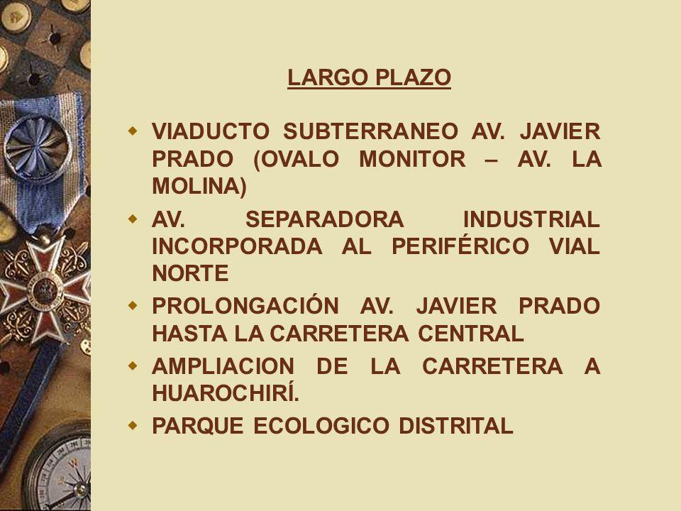 LARGO PLAZO VIADUCTO SUBTERRANEO AV. JAVIER PRADO (OVALO MONITOR – AV. LA MOLINA) AV. SEPARADORA INDUSTRIAL INCORPORADA AL PERIFÉRICO VIAL NORTE PROLO