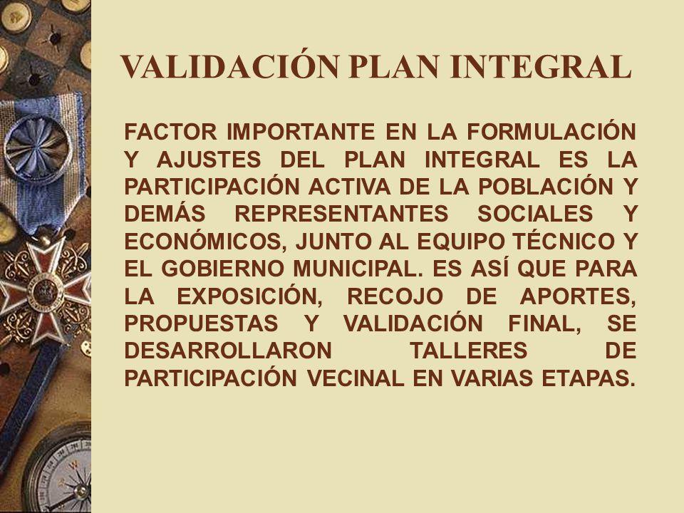 VALIDACIÓN PLAN INTEGRAL FACTOR IMPORTANTE EN LA FORMULACIÓN Y AJUSTES DEL PLAN INTEGRAL ES LA PARTICIPACIÓN ACTIVA DE LA POBLACIÓN Y DEMÁS REPRESENTA