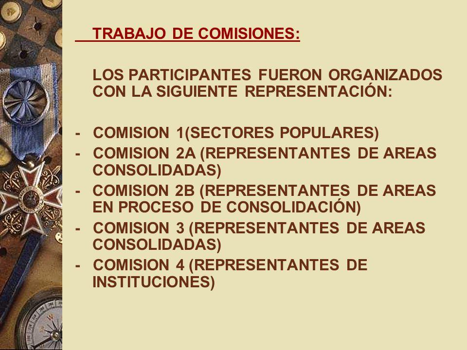 TRABAJO DE COMISIONES: LOS PARTICIPANTES FUERON ORGANIZADOS CON LA SIGUIENTE REPRESENTACIÓN: - COMISION 1(SECTORES POPULARES) - COMISION 2A (REPRESENT