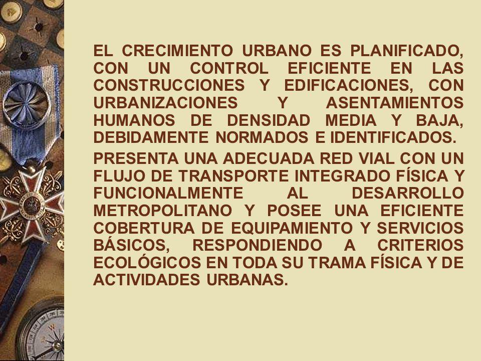 EL CRECIMIENTO URBANO ES PLANIFICADO, CON UN CONTROL EFICIENTE EN LAS CONSTRUCCIONES Y EDIFICACIONES, CON URBANIZACIONES Y ASENTAMIENTOS HUMANOS DE DE