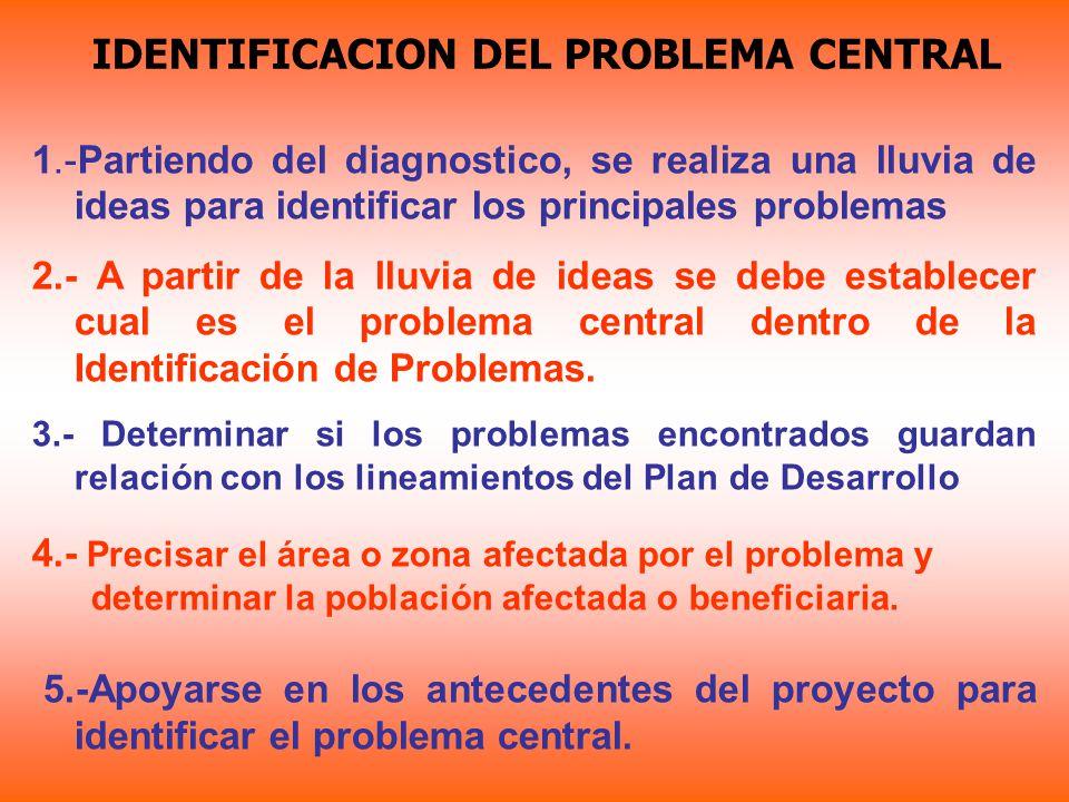 IDENTIFICACION DEL PROBLEMA CENTRAL 1.-Partiendo del diagnostico, se realiza una lluvia de ideas para identificar los principales problemas 2.- A part