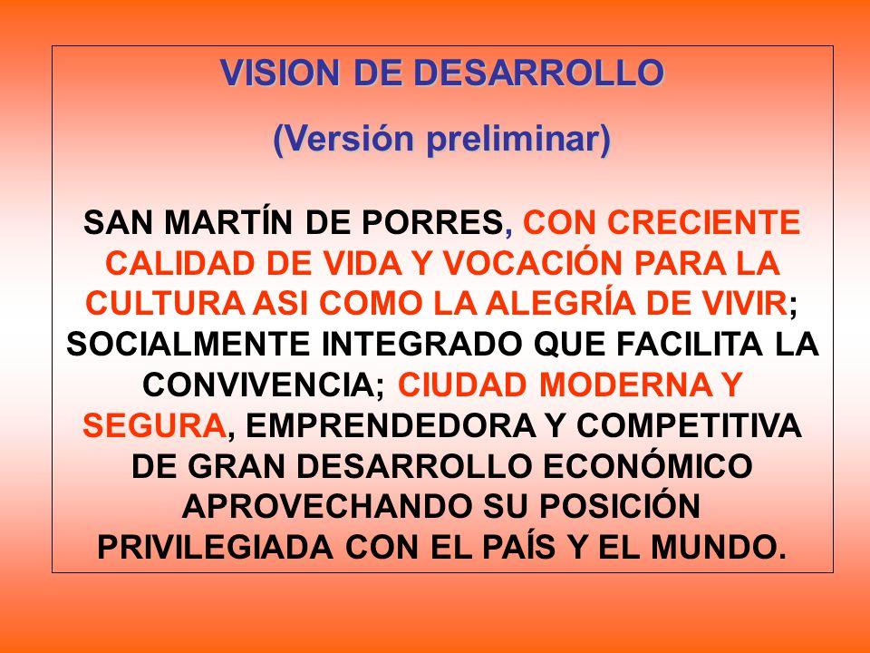 VISION DE DESARROLLO (Versión preliminar) SAN MARTÍN DE PORRES, CON CRECIENTE CALIDAD DE VIDA Y VOCACIÓN PARA LA CULTURA ASI COMO LA ALEGRÍA DE VIVIR;