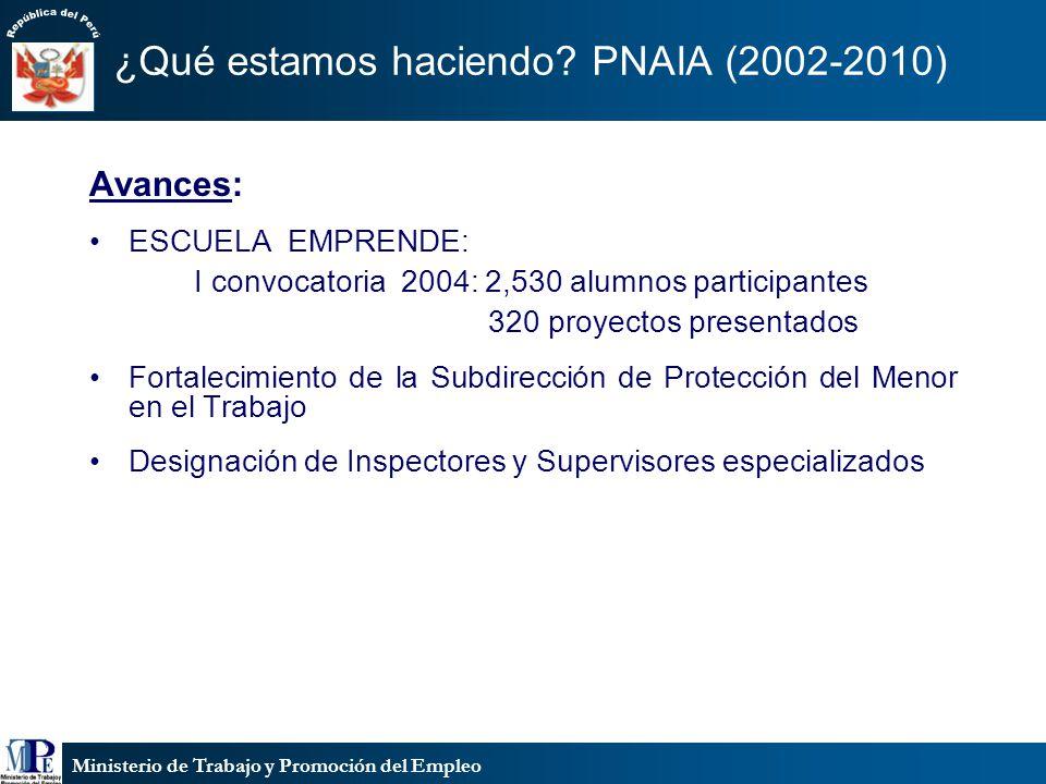Ministerio de Trabajo y Promoción del Empleo ¿Qué estamos haciendo? PNAIA (2002-2010) Avances: ESCUELA EMPRENDE: I convocatoria 2004: 2,530 alumnos pa