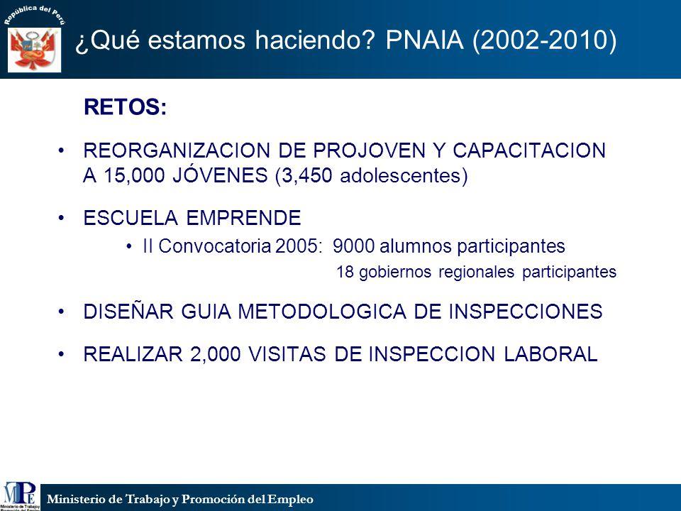 Ministerio de Trabajo y Promoción del Empleo ¿Qué estamos haciendo? PNAIA (2002-2010) RETOS: REORGANIZACION DE PROJOVEN Y CAPACITACION A 15,000 JÓVENE
