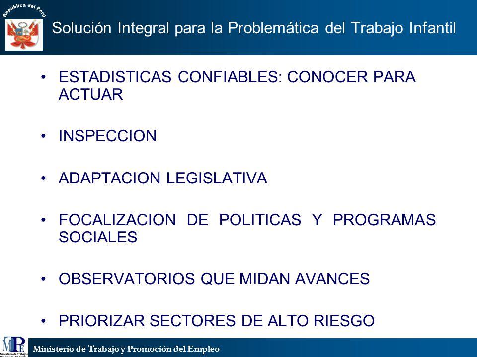Ministerio de Trabajo y Promoción del Empleo Solución Integral para la Problemática del Trabajo Infantil ESTADISTICAS CONFIABLES: CONOCER PARA ACTUAR