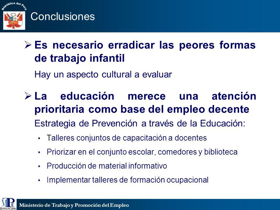 Ministerio de Trabajo y Promoción del Empleo Conclusiones Es necesario erradicar las peores formas de trabajo infantil Hay un aspecto cultural a evalu