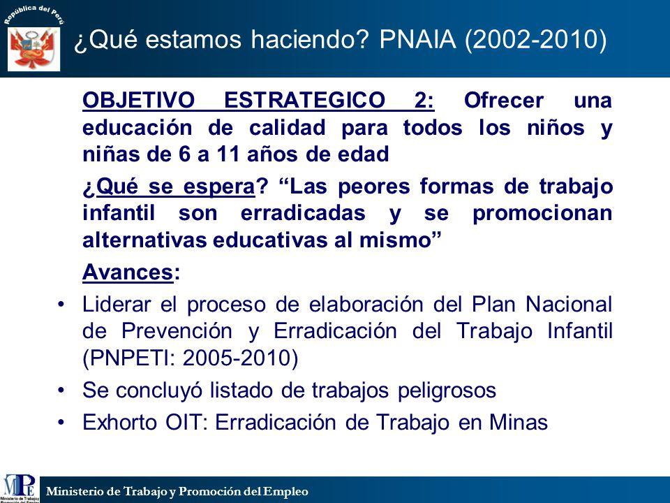 Ministerio de Trabajo y Promoción del Empleo ¿Qué estamos haciendo? PNAIA (2002-2010) OBJETIVO ESTRATEGICO 2: Ofrecer una educación de calidad para to