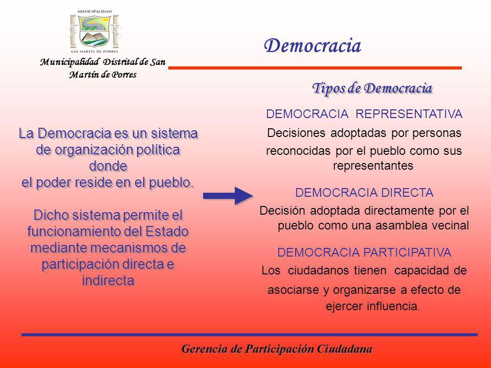 Municipalidad Distrital de San Martín de Porres Democracia La Democracia es un sistema de organización política donde el poder reside en el pueblo. Di