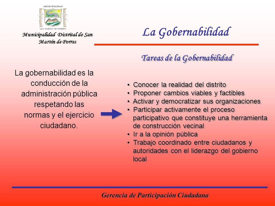 Municipalidad Distrital de San Martín de Porres La Gobernabilidad La gobernabilidad es la conducción de la administración pública respetando las normas y el ejercicio ciudadano.