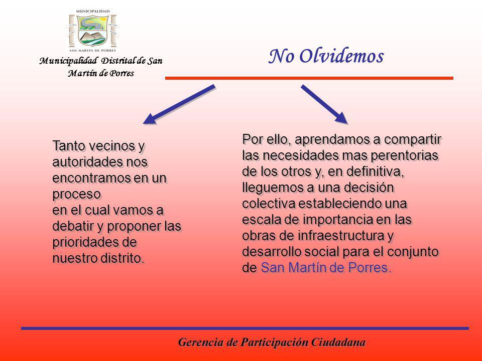 Municipalidad Distrital de San Martín de Porres No Olvidemos Tanto vecinos y autoridades nos encontramos en un proceso en el cual vamos a debatir y proponer las prioridades de nuestro distrito.