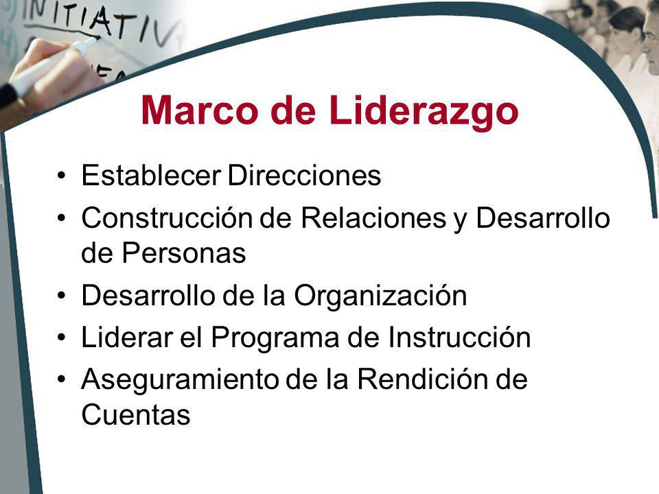 Marco de Liderazgo Establecer Direcciones Construcción de Relaciones y Desarrollo de Personas Desarrollo de la Organización Liderar el Programa de Ins