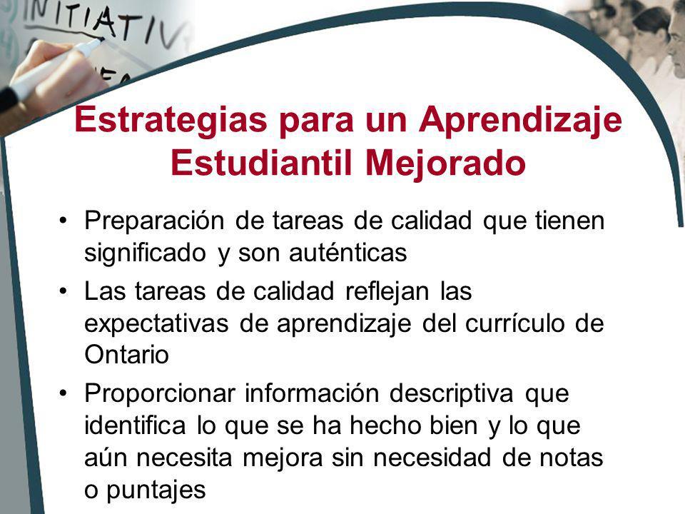 Estrategias para un Aprendizaje Estudiantil Mejorado Preparación de tareas de calidad que tienen significado y son auténticas Las tareas de calidad re