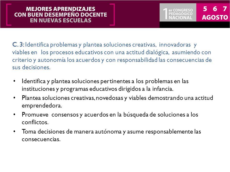 Identifica y plantea soluciones pertinentes a los problemas en las instituciones y programas educativos dirigidos a la infancia.