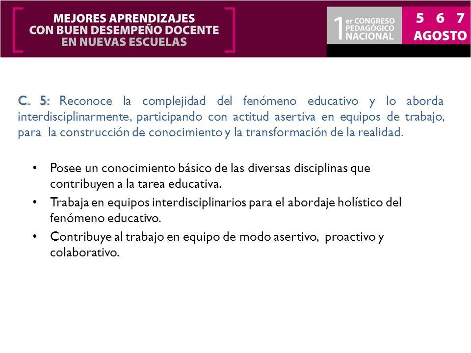 Posee un conocimiento básico de las diversas disciplinas que contribuyen a la tarea educativa.