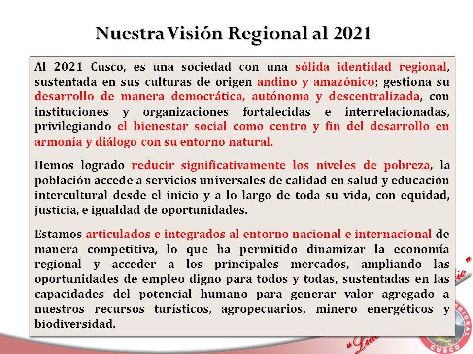 Liderando el Cambio Liderando el Cambio Al 2021 Cusco, es una sociedad con una sólida identidad regional, sustentada en sus culturas de origen andino