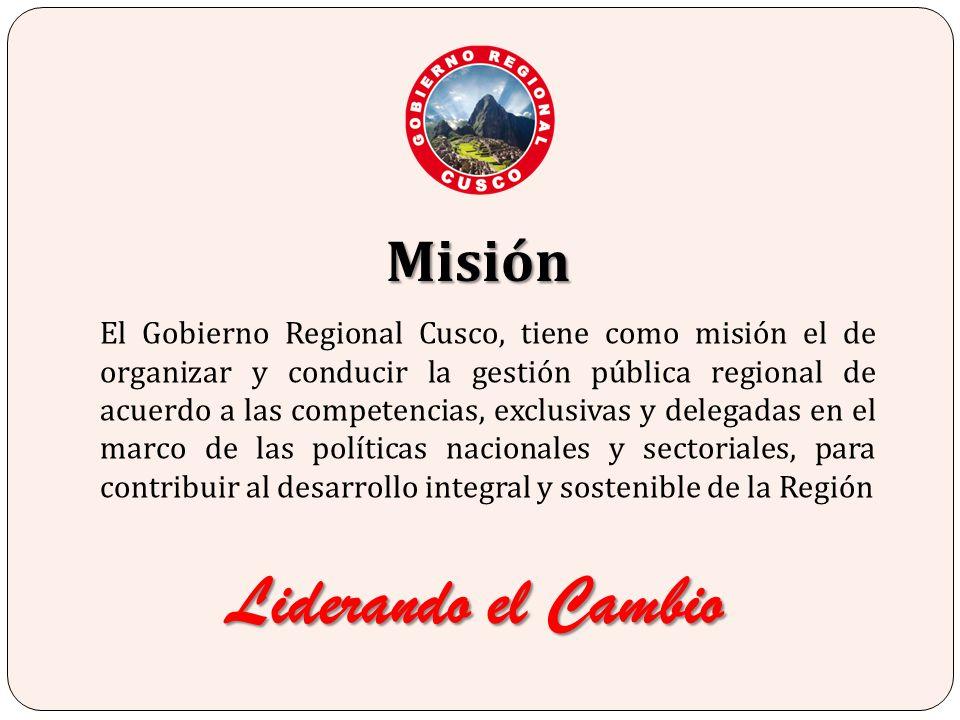 El Gobierno Regional Cusco, tiene como misión el de organizar y conducir la gestión pública regional de acuerdo a las competencias, exclusivas y deleg