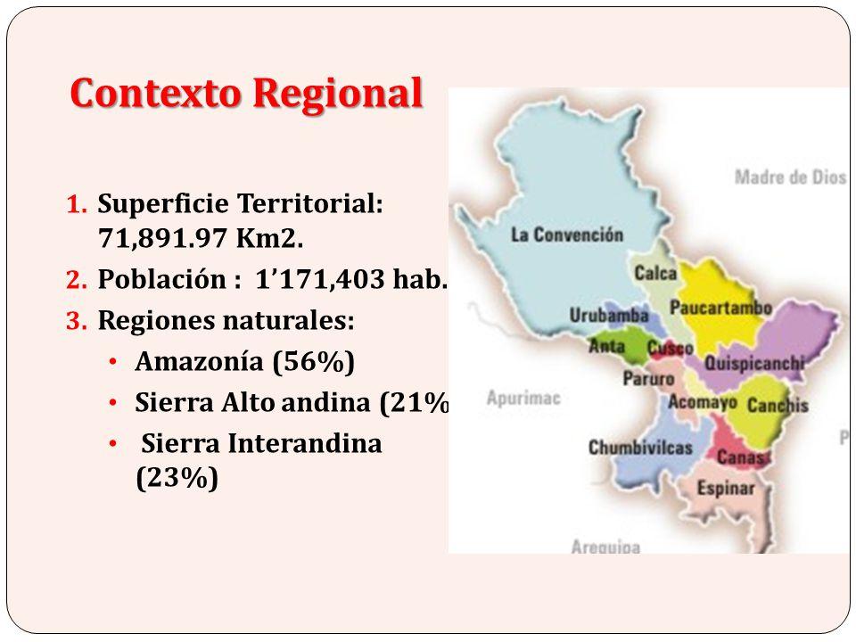 1. Superficie Territorial: 71,891.97 Km2. 2. Población : 1171,403 hab. 3. Regiones naturales: Amazonía (56%) Sierra Alto andina (21%) Sierra Interandi