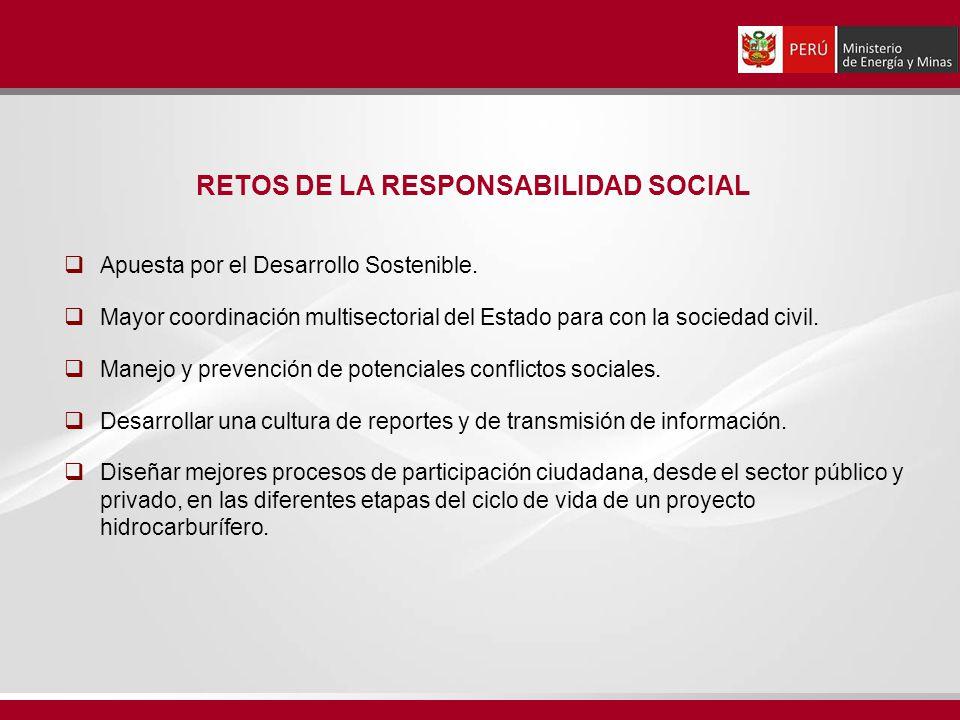 Apuesta por el Desarrollo Sostenible. Mayor coordinación multisectorial del Estado para con la sociedad civil. Manejo y prevención de potenciales conf