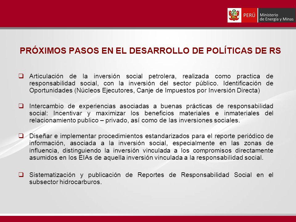 PRÓXIMOS PASOS EN EL DESARROLLO DE POLÍTICAS DE RS Articulación de la inversión social petrolera, realizada como practica de responsabilidad social, con la inversión del sector público.