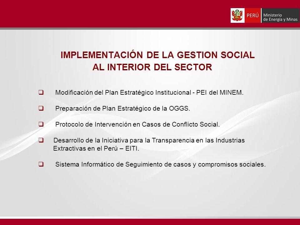 IMPLEMENTACIÓN DE LA GESTION SOCIAL AL INTERIOR DEL SECTOR Modificación del Plan Estratégico Institucional - PEI del MINEM. Preparación de Plan Estrat