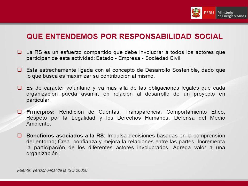 QUE ENTENDEMOS POR RESPONSABILIDAD SOCIAL La RS es un esfuerzo compartido que debe involucrar a todos los actores que participan de esta actividad: Estado - Empresa - Sociedad Civil.