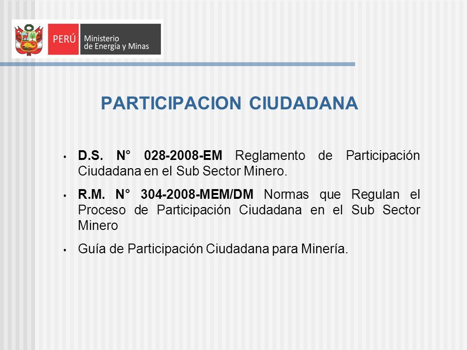 PARTICIPACION CIUDADANA D.S. N° 028-2008-EM Reglamento de Participación Ciudadana en el Sub Sector Minero. R.M. N° 304-2008-MEM/DM Normas que Regulan