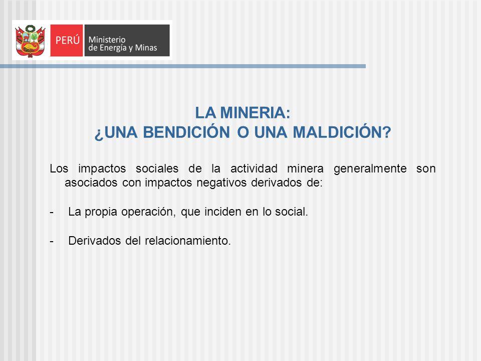 LA MINERIA: ¿UNA BENDICIÓN O UNA MALDICIÓN? Los impactos sociales de la actividad minera generalmente son asociados con impactos negativos derivados d